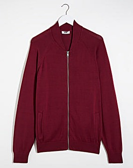 Wine Cotton Bomber Jacket Long