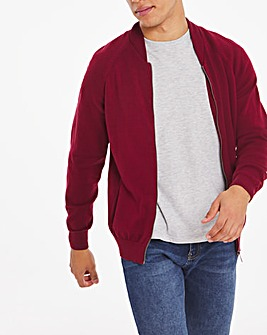 Wine Zip Knitted Bomber Cardigan Long