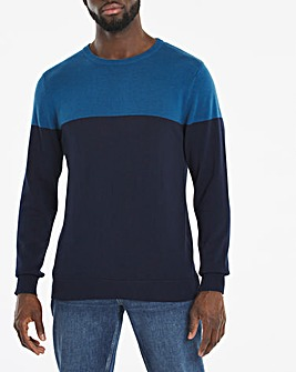 Navy/Blue Colourblock Crew Neck Jumper