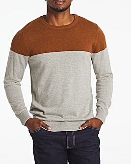 Grey Colourblock Crew Neck Jumper Long