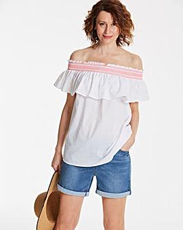 White with Neon Stitch Shirred BardotTop