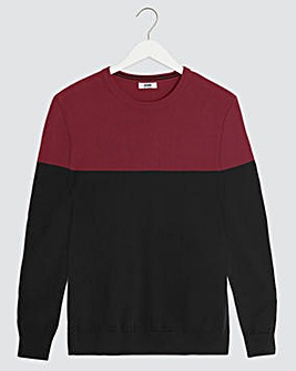Black Colourblock Crew Neck Jumper Long