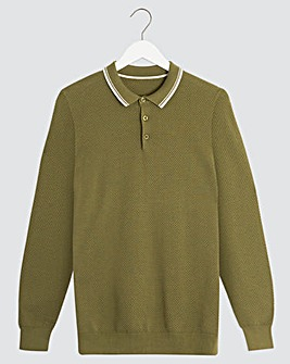 Olive Long Sleeve Tipped Polo Shirt Long
