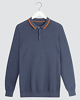 Navy Long Sleeve Tipped Polo Shirt Long
