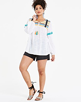 White Embroidered Tie Front Smock Top