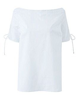 White Base/BlueStripe Lace Up Sleeve Top