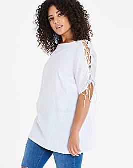 White Base/BlueStripe Lace Up Sleeve Top
