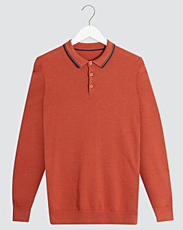 Red Long Sleeve Textured Polo Shirt