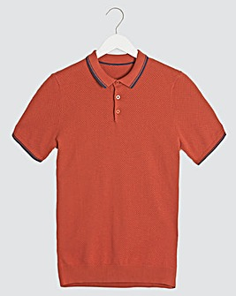 Red Short Sleeve Textured Polo Shirt Long