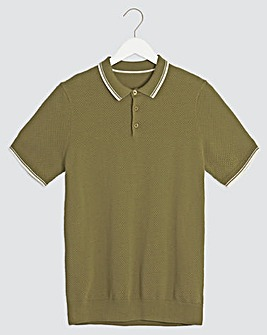 Olive Short Sleeve Textured Polo Shirt Long