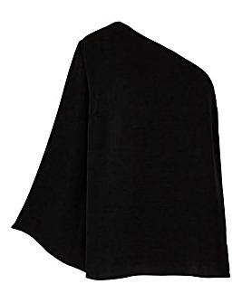 Black One Shoulder Wide Sleeve Top
