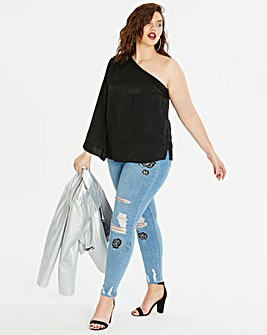Black One Shoulder Wide Sleeve Top