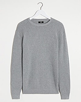 Grey Marl Textured Crew Neck Jumper Long