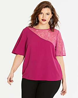 Magenta Asymmetric Lace Sleeve Top