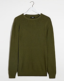 Olive Textured Crew Neck Jumper Long