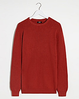 Rust Textured Crew Neck Jumper Long