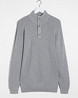Grey Textured Button Neck Jumper