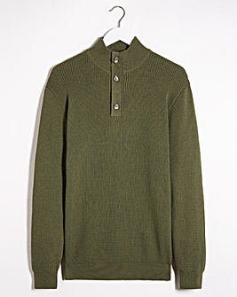 Olive Textured Button Neck Jumper