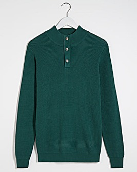 Teal Textured Button Neck Jumper