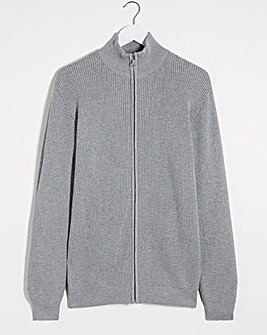 Grey Marl Textured Zip Neck Jumper