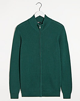 Teal Textured Zip Neck Jumper Long