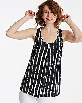 Black Print Sleeveless Vest Top