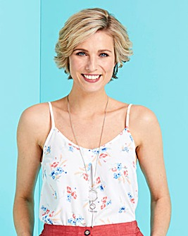 White Floral Strappy Cami Top
