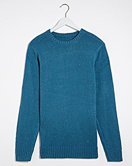 Blue Neppy Long Sleeve Crew Neck Jumper
