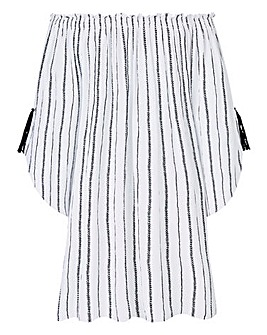 Petite Crinkle Tunic With Tassels