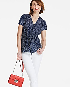 Navy Spot Tie Front Blouse