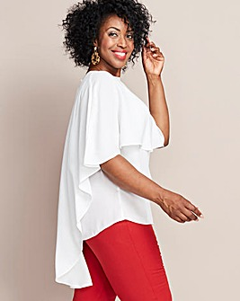 Ivory Cape Sleeve Dip Back Blouse