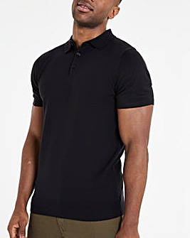 Black Knitted Short Sleeve Polo Shirt