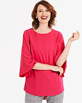 Pink Boat Neck Angel Sleeve Top