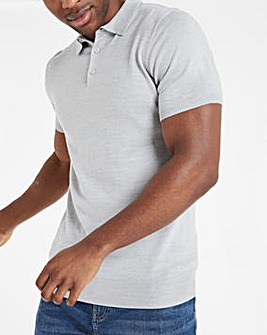 Grey Marl Knitted Short Sleeve Polo Shirt