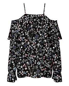 Black Floral Strappy Bardot Blouse