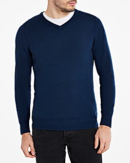 Navy Merino Wool V Neck Jumper