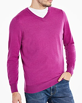 Magenta Merino Wool V Neck Jumper