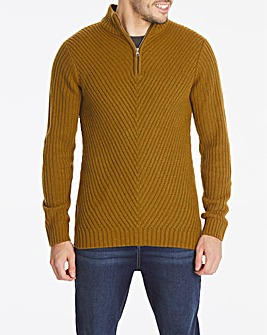 Brown Chunky Zip Neck Jumper