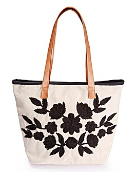 Floral Detail Straw Bag