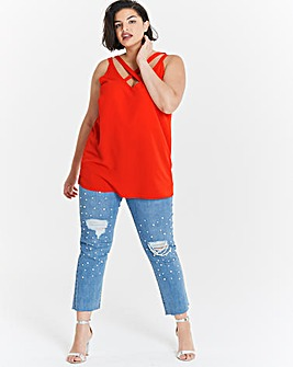 Flame Red Strappy Longline Vest Top