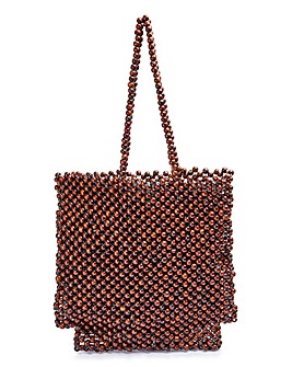 Glamorous Wooden Beaded Shoulder Bag