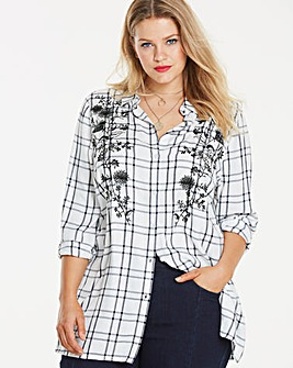 Mono Check Embroidered Shirt