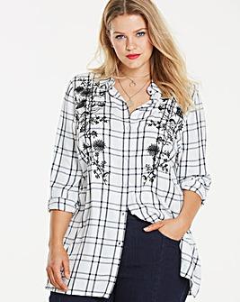 Mono Check Embroidered Shirt