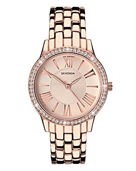 Sekonda Rose Gold Diamante Watch