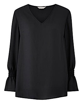 Black Shirred Cuff Blouse