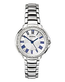 Sekonda Silver & Navy Diamante Watch