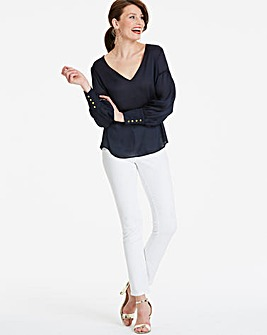 Navy Drop Sleeve Deep Cuff Blouse