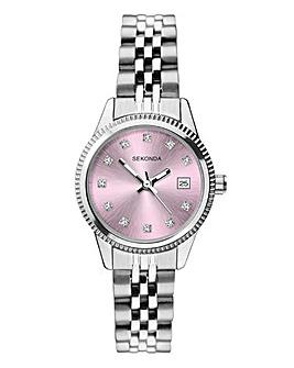 Sekonda Silver and Lilac Bracelet Watch