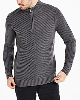 Charcoal Chunky Zip Neck Jumper