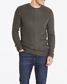 Charcoal Chunky Crew Neck Jumper Long